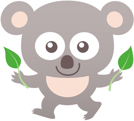 bulging: Cute baby koala with gray fur, big rounded ears, bulging eyes and friendly mood while staring at you, walking and showing two leaves of eucalyptus Illustration
