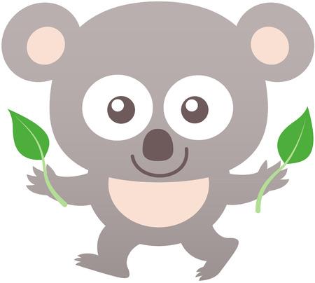 bulging eyes: Koala bambino sveglio con il pelo grigio, grandi orecchie arrotondate, occhi sporgenti e l'umore amichevole mentre ti fissano, a piedi e mostrando due foglie di eucalipto Vettoriali