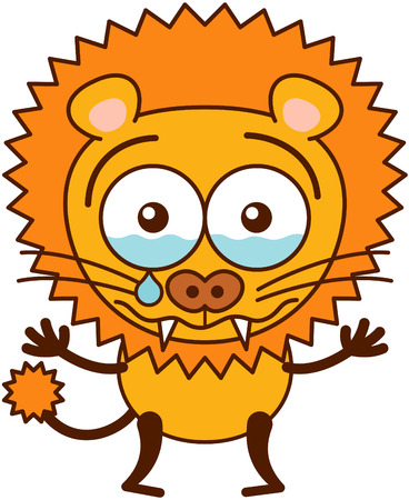 bulging: Cute lion in minimalistic style with rounded ears, bulging eyes, sharp teeth and long tufted tail while crying bitterly and showing a very sad and dispirited mood Illustration