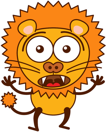 bulging: Cute lion in minimalistic style with rounded ears, bulging eyes, sharp teeth and long tufted tail while widely opening its bulging eyes, raising its arms and expressing surprise and fear