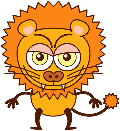 lion tail: Cute lion in minimalistic style with rounded ears, bulging eyes, sharp teeth and long tufted tail while posing, frowning, smiling mischievously and showing a naughty mood