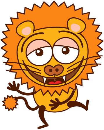 lion tail: Cute lion in minimalistic style with rounded ears, bulging eyes, sharp teeth and long tufted tail while having fun and laughing animatedly