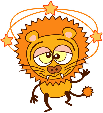 lion tail: Cute lion in minimalistic style with rounded ears, bulging eyes, sharp teeth and tufted tail while showing yellow stars turning around its head, walking unsteadily, keeping balance and feeling dizzy