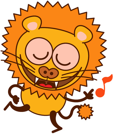 tawny: Cute lion in minimalistic style with rounded ears, bulging eyes, sharp teeth and long tufted tail while closing its bulging eyes, smiling, dancing and singing animatedly Illustration