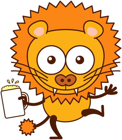 bulging eyes: Cute lion in minimalistic style with rounded ears, bulging eyes, sharp teeth and tufted tail while opening its eyes, raising its arms and holding a glass of frothy beer as for celebrating something Illustration