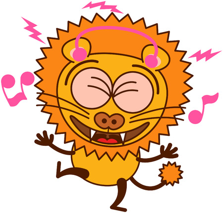 lion tail: Cute lion in minimalistic style with rounded ears, bulging eyes, sharp teeth and tufted tail while wearing earphones, clenching its eyes, listening to music, smiling generously and dancing animatedly