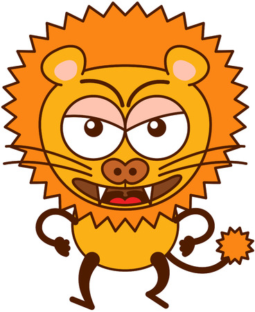 clenching: Cute lion in minimalistic style with rounded ears, bulging eyes, sharp teeth and long tufted tail while walking, frowning, clenching its fists and showing a very angry mood