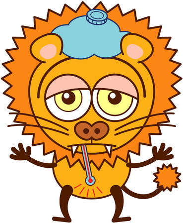 disheartened: Cute lion in minimalistic style with rounded ears, bulging eyes, sharp teeth and tufted tail while having a thermometer in its mouth, an ice pack above its head, showing a sad mood and feeling sick
