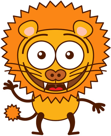 lion tail: Cute lion in minimalistic style with rounded ears, bulging eyes, sharp teeth and long tufted tail while waving, greeting and welcoming animatedly