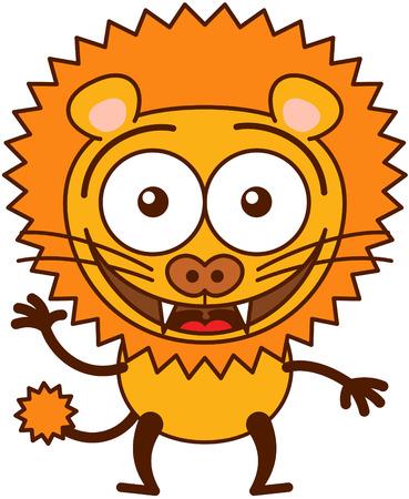 bulging eyes: Leone carino in stile minimalista con le orecchie arrotondate, occhi sporgenti, denti aguzzi e la coda lunga trapuntata, mentre sventola, saluto e benvenuto animatamente Vettoriali