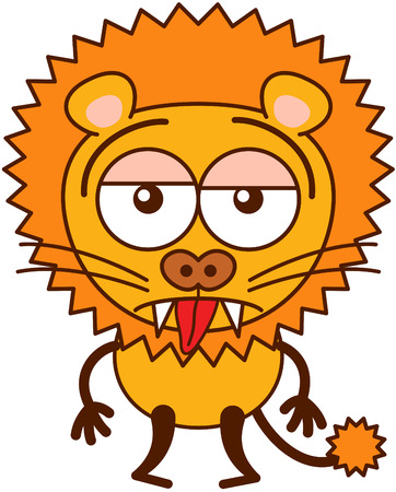 Cute lion in minimalistic style with rounded ears, bulging eyes, sharp teeth and long tufted tail while sticking its tongue out and showing a sad apathetic attitude