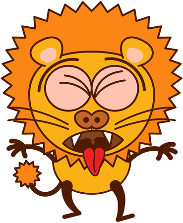 lion tail: Lion in minimalistic style with rounded ears, bulging eyes, sharp teeth and tufted tail while clenching its eyes, opening its mouth, sticking its tongue out and expressing disgust as for throwing up