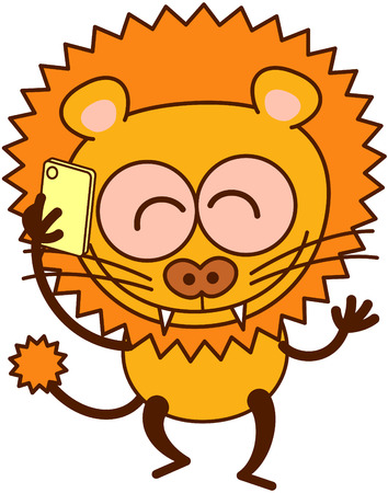 lion tail: Cute lion in minimalistic style with rounded ears, bulging eyes, sharp teeth and long tufted tail while talking animatedly on a smartphone Illustration