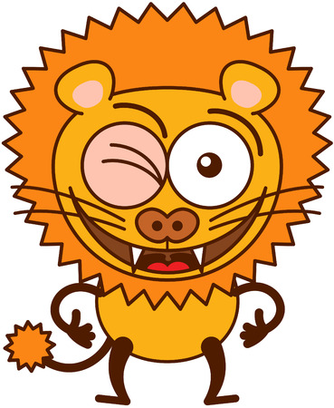 acceptation: Cute lion in minimalistic style with rounded ears, bulging eyes, sharp teeth and long tufted tail while winking, smiling generously and making thumbs up