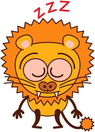bulging eyes: Leone carino in stile minimalista con le orecchie arrotondate, denti aguzzi, occhi sporgenti e la coda lunga trapuntata dormire placidamente, mentre in piedi in uno stato d'animo sorprendente ed esausto Vettoriali