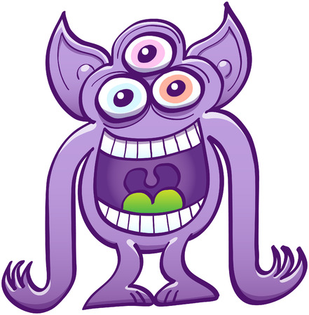 Mad three-eyed alien with pointy ears, big mouth, purple skin and long arms while staring at you, laughing animatedly and mocking at you Illustration