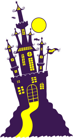 menacing: Silhouetted purple castle in Gothic Halloween style with high towers, a full moon, yellow windows, flying bats and leaning dangerously in the top of a hill