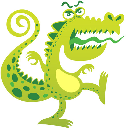 tongue out: Angry crocodile, with curly tail, bulging eyes, green spotted skin, big mouth and sharp teeth while balancing its body, opening its mouth, sticking its tongue out and yelling in a menacing attitude