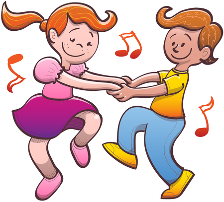 nimble: Cute couple of nice kids while smiling, holding hands tenderly, dancing salsa energetically and having a lot fun