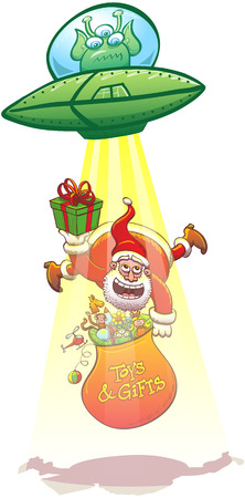 piloting: Angy alien piloting its flying saucer and launching a yellow light beam to abduct Santa Claus. Santa offers a present to the extraterrestrial while floating and holding his bag full of Christmas toys