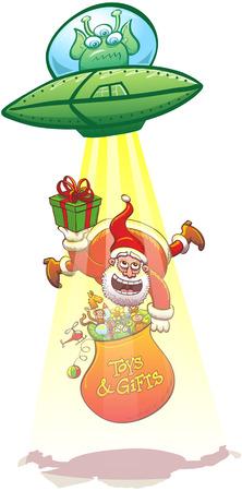 platillo volador: Angy extranjero pilotar su platillo volante y el lanzamiento de un haz de luz amarilla a secuestrar a Santa Claus. De Santa ofrece un regalo a la extraterrestre mientras flota y sosteniendo su bolsa llena de juguetes de Navidad