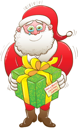 Santa Claus weeping and showing a lot of emotion while holding a big beautiful present which has a card wishing him a Merry Christmas