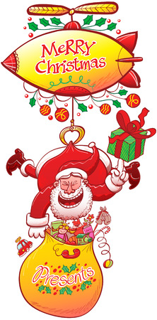 grabbing back: Clever Santa Claus carrying his presents bag and holding a gift with the tip of his hand while hanging from a zeppelin, thanks to a claw grabbing the back of his red suit, and laughing animatedly Illustration