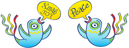 A couple of beautifully decorated blue birds placed symmetrically and face to face while floating and showing speech bubbles with the texts Xmas Joy and Peace