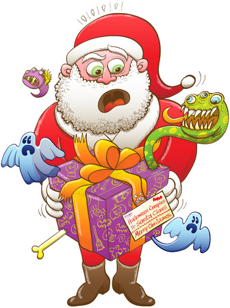 weird: Santa Claus feeling nervous, surprised and scared after having received a weird Christmas present, wrapped in a purple paper and decorated with an orange bow, from Halloween creepy creatures