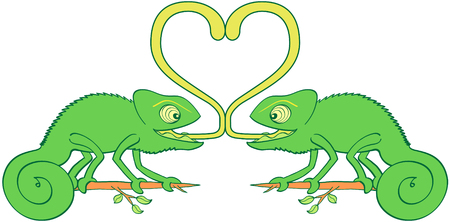 A couple of funny green chameleons with bulging eyes and curly tails looking surprised, smiling, staring at each one and sticking their tongues out to form a big heart while falling in love