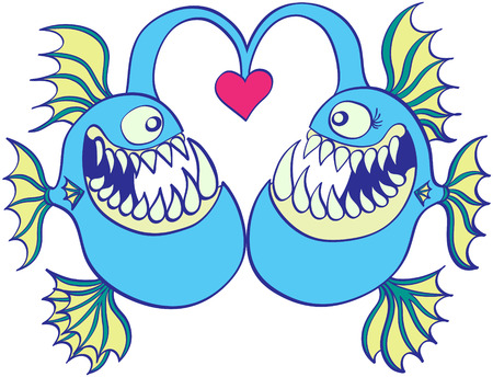 couple having fun: A couple of frightening deep sea fishes feeling excitedly surprised when meeting and feeling in love while forming a big heart with their illiciums, which have a red heart at their tips
