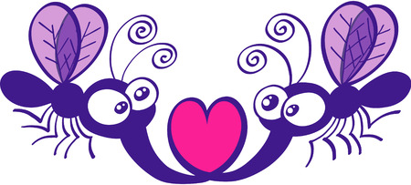 mosquitoes: A couple of funny purple mosquitoes looking surprised, staring at each other and forming a heart with their proboscises while floating in the air and falling in love