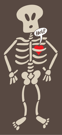 perturbing: Cartoon red heart feeling in captivity inside the bones of the rib cage of a surprised skeleton, expressing a love pang and asking for help by showing a speech bubble. Dark background