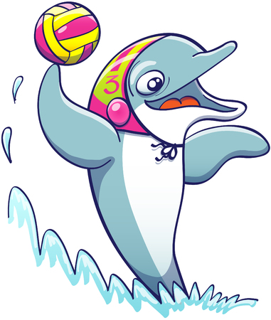 polo ball: Cool athletic dolphin wearing a colorful cap, smiling and keeping balance out of the water thanks to the power of its tail while holding a ball and preparing to shoot in a water polo match