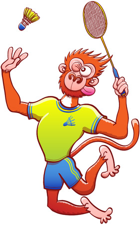 talented: Athletic red monkey with yellow shirt and blue shorts while grabbing a racket, staring at the shuttlecock and preparing for a vigorous vertical jump smash in a badminton match