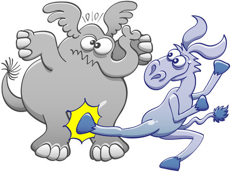 mischievous: Mischievous donkey doing a violent back kick to hit the pelvis of a chubby elephant. The elephant expresses its pain by crossing its eyes, raising its ears and clenching its mouth