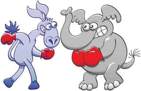 clenching: Menacing elephant and donkey clenching their teeth, wearing red boxing gloves and preparing to fight