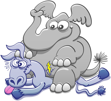affliction: Mischievous elephant having pleasure at sitting on a donkey and crushing it. The donkey expresses its pain by crossing its eyes, sticking its tongue out and showing a lightning bolt