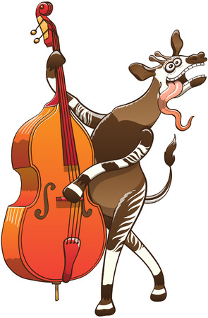 feverish: Cool okapi with big ears, posing and playing a double bass with great enthusiasm, talent and a funny mood Illustration