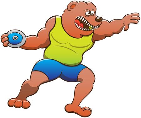 lanzamiento de disco: oso fuerte y valiente que llevaba una camiseta amarilla y pantalón azul, apretando sus dientes, haciendo girar su cuerpo y agarrar el disco pesado mientras se prepara un lanzamiento de disco
