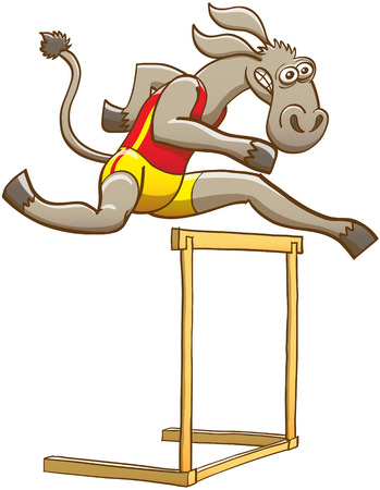 ears donkey: Determined donkey wearing red tank and yellow shorts, feeling courageous and making a big effort while running and jumping over a hurdle