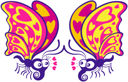 affinity: Beautiful couple of colorful butterflies flying, staring at each other and expressing they feel in love by showing hearts in their wings, joining their antennae and throwing hearts through their eyes