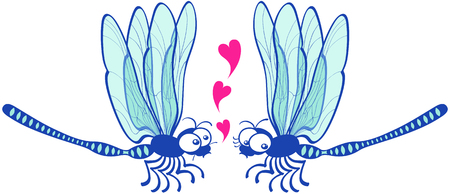 foolish: Cute couple of slim blue dragonflies flying in front of each other while the male declares its love by showing floating hearts and the female looks a little bit shy and doubtful
