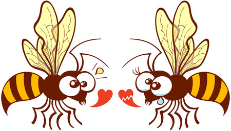 captivation: Cute couple of bees flying, staring at each other and expressing their different points of view about love by showing a healthy heart and a broken one