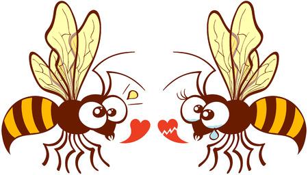 fascinação: Pares bonitos de abelhas voando, olhando para o outro e expressar seus pontos de vista diferentes sobre o amor, mostrando um cora Ilustração