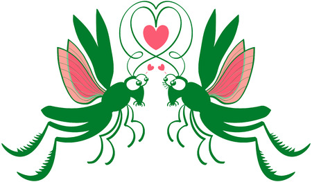 madly: Impressive couple of green grasshoppers jumping and flying, staring at each other, forming a heart with their antennae and showing they feel madly in love