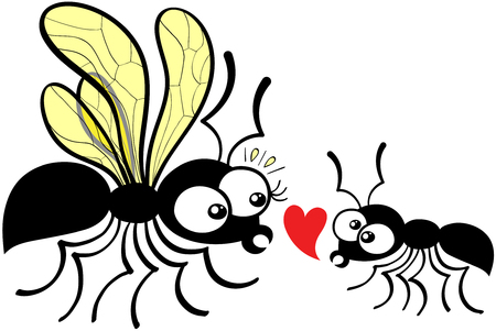 foolish: Lovely couple of ants composed by a queen and a worker which dares to declare its love by showing a red heart while feeling shy and nervous. The queen can not hide its surprise and feels disconcerted