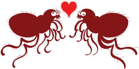fascinação: Pares engraçados das pulgas feio jumping, posando em frente um do outro enquanto tenta não olhar preocupado e mostrando um coração vermelho peludo entre eles