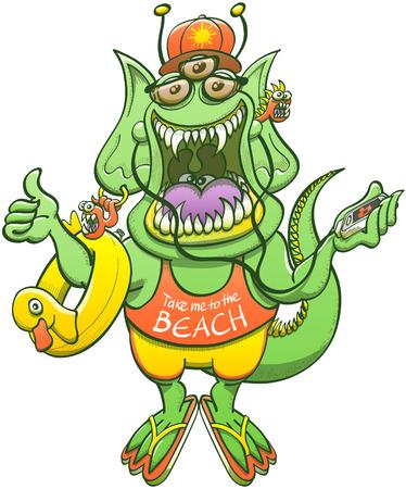 """Grünes Monster mit spitzen Ohren, langen Schwanz, scharfe Zähne und drei Augen, während lächelnd, auf die Musik hören, eine Fahrt abgreift und trägt eine Sonnenbrille, Mütze, Shorts und ein """"nimm mich an den Strand"""" Tank Standard-Bild - 61917962"""