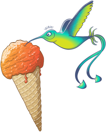 long tail: Beautiful hummingbird with blue and green feathers, long tail and slender curved beak while flapping its wings, floating, smiling and drinking orange ice cream instead of flower nectar